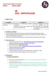 Commune - Fiche de préparation - EMC : 4eme, 5eme Primaire