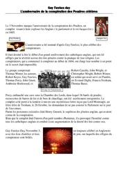 Guy Fawkes day - L'anniversaire de la conspiration des Poudres célèbres - Civilisation anglaise : 3eme, 4eme, 5eme Primaire