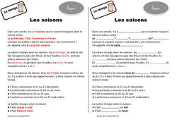 Saisons - Cours, Leçon : 2eme Primaire