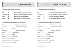 Conjuguer le verbe être au futur - Exercices à imprimer : 2eme Primaire
