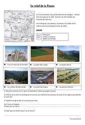 Relief de la France - Géographie : 3eme, 4eme Primaire