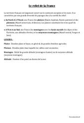Relief de la France - Géographie - Cours, Leçon : 3eme, 4eme Primaire