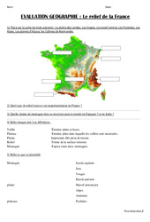 Relief de la France - Examen Evaluation : 3eme, 4eme Primaire