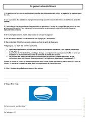 La préservation du littoral - Exercices : 3eme, 4eme Primaire