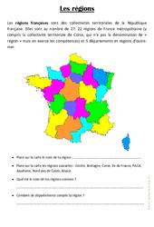 Les régions - Exercices géographie : 3eme Primaire