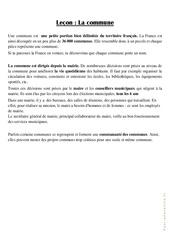 La commune - Cours, Leçon : 3eme Primaire