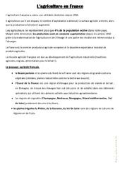 L 'agriculture en France - Géographie - Cours, Leçon : 3eme, 4eme, 5eme Primaire