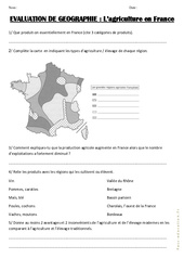 Agriculture en France - Examen Evaluation : 3eme, 4eme, 5eme Primaire
