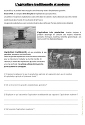 L'agriculture traditionnelle et moderne - Exercices : 3eme, 4eme, 5eme Primaire
