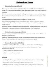 L' industrie en France - Cours, Leçon : 4eme, 5eme Primaire