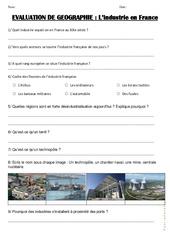 Industrie en France - Examen Evaluation : 4eme, 5eme Primaire
