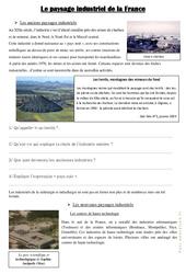 Le paysage industriel de la France - Documents, questions, correction : 4eme, 5eme Primaire
