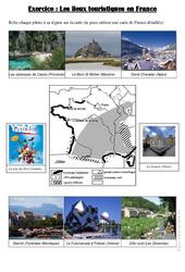 Les lieux touristiques en France - Exercices : 4eme, 5eme Primaire