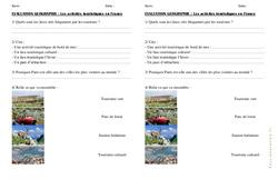 Activités de tourisme en France - Examen Evaluation : 4eme, 5eme Primaire