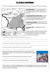 La France touristique - Document, questions, correction : 4eme, 5eme Primaire