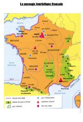 Carte du paysage touristique français : 4eme, 5eme Primaire