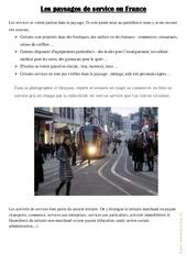 Les paysages de service en France - Exercices : 4eme, 5eme Primaire