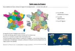 Notre pays la France - Exercices : 3eme Primaire
