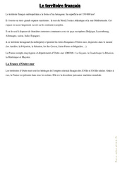 Le territoire français - Cours, Leçon : 4eme, 5eme Primaire
