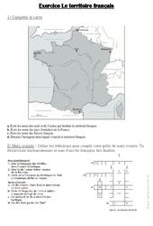 Le territoire français - Exercices : 4eme, 5eme Primaire