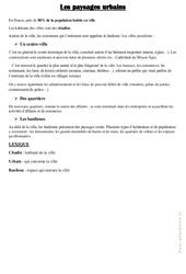 Les paysages urbains - Cours, Leçon : 3eme, 4eme Primaire