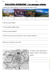 Paysages urbains - Examen Evaluation : 3eme, 4eme Primaire
