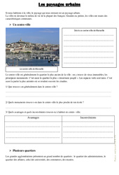 Les paysages urbains - Document, questions : 3eme, 4eme Primaire