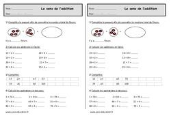 Addition - Exercices sur le sens de l'addition : 2eme Primaire