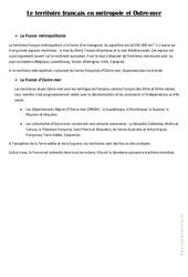Le territoire français  en métropole et Outre - mer - Cours, Leçon : 4eme, 5eme Primaire