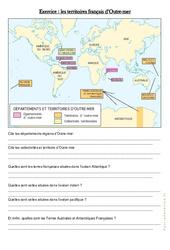 Les territoires français d'Outre - mer - Exercices : 4eme, 5eme Primaire