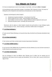 Les climats en France - Cours, Leçon : 3eme, 4eme Primaire
