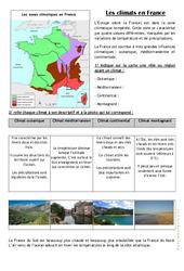 Les climats en France - Exercices : 3eme, 4eme Primaire