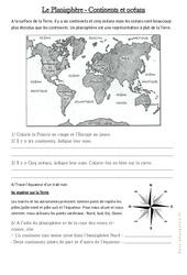Le planisphère - Continents et Océans - Documents, questions : 3eme Primaire