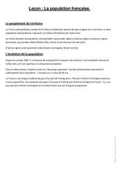 La population française - Cours, Leçon : 4eme, 5eme Primaire
