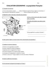 Population française - Examen Evaluation : 4eme, 5eme Primaire
