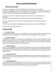 Les grandes villes françaises - Cours, Leçon : 4eme, 5eme Primaire