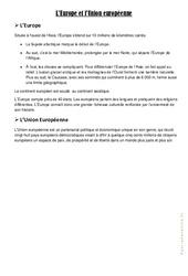 L'Europe et l'Union Européenne - Cours, Leçon : 4eme, 5eme Primaire