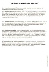 Le climat et la végétation française - Cours, Leçon : 4eme, 5eme Primaire