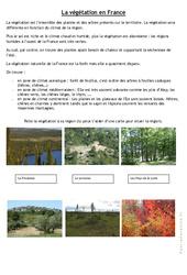 La végétation en France - Exercices : 4eme, 5eme Primaire