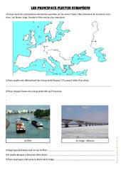Les principaux fleuves européens - Exercices géographie  : 4eme, 5eme Primaire