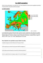Relief et paysages d'europe - Exercices géographie  : 4eme, 5eme Primaire