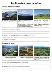 Les différents paysages européens - Documents, questions, correction- Fiches Géographie  : 4eme, 5eme Primaire