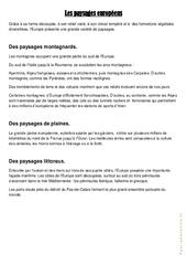 Les paysages européens - Cours, Leçon géographie  : 4eme, 5eme Primaire