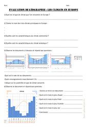 Climats en Europe - Examen Evaluation : 4eme, 5eme Primaire