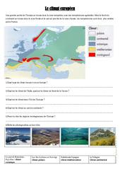 Le climat européen - Exercices géographie  : 4eme, 5eme Primaire