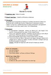 Aborder le monde - Fiche de préparation : 3eme Maternelle - Cycle Fondamental