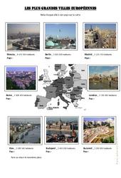 Les plus grandes villes européennes - Exercices géographie - Europe  : 4eme, 5eme Primaire