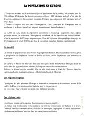 La population européenne - Cours, Leçon - Géographie  : 4eme, 5eme Primaire