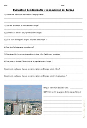 Population en Europe - Examen Evaluation : 4eme, 5eme Primaire