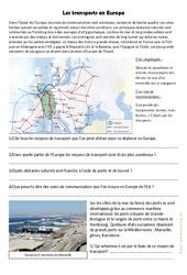 Les transports en Europe - Exercices géographie  : 4eme, 5eme Primaire